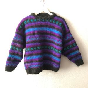Super Thick Wool Blend Tribal Sweater Sz Small